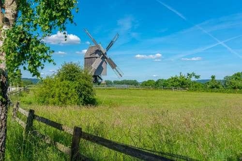 Landscape Mill Wind Mill Clouds Architecture