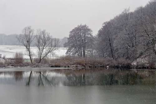 Landscape Winter Lake Snow Nature Cold Wintry