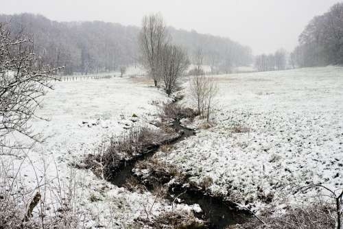 Landscape Winter Bach Snow Nature Cold Wintry