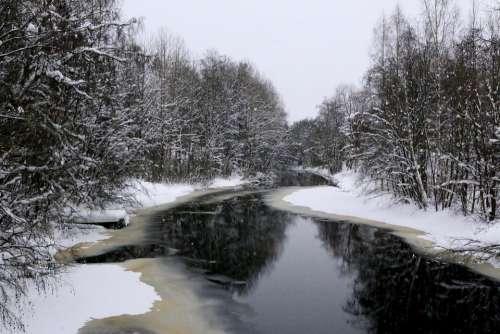 Landscape Winter Frozen Warm Snow Snow River