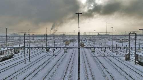 Landscape Industry Railway Tracks Winter Snow