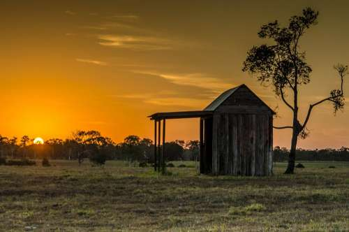 Landscape Shed Countryside Rustic Cottage Scenic