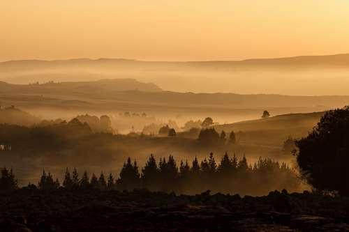 Landscape Valley Mist Misty Hills Haze Dusk View