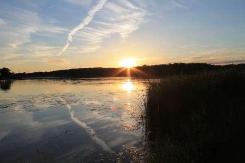 Landscape Sunset Lake Nature Sky Sun Summer