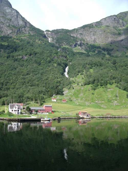 Landscape Houses Green Fiord Reflection Norway