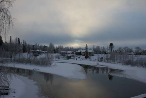 Landscape Winter Water River Frost Finnish Snow