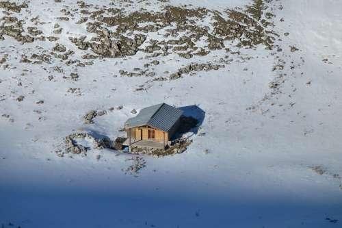 Landscape Nature Mountains Alps Winter Cabin
