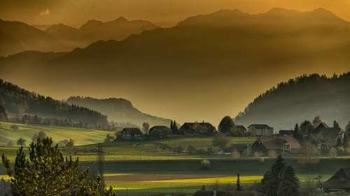 Landscape Autumn Twilight Mountains Afternoon