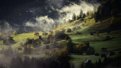 Landscape Autumn Fog Village Twilight Afternoon