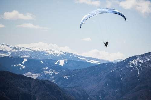 Landscape Mountains Paragliding Parachute Snow Sky