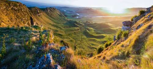Landscape Mountains Valleys Hills Fields Grass