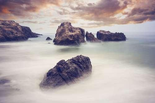 Landscape Rocks Waves Water Ocean Nature Sky