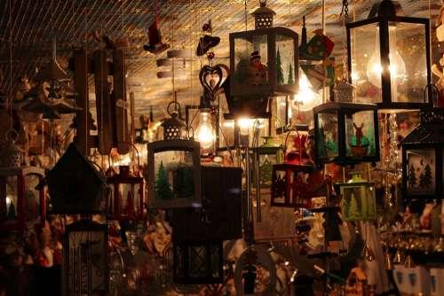 Lanterns Lamps Sale Christmas Market
