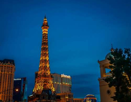 Las Vegas Eiffel Tower Paris Lights Night Famous