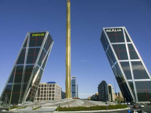 Leaning Towers Madrid Buildings