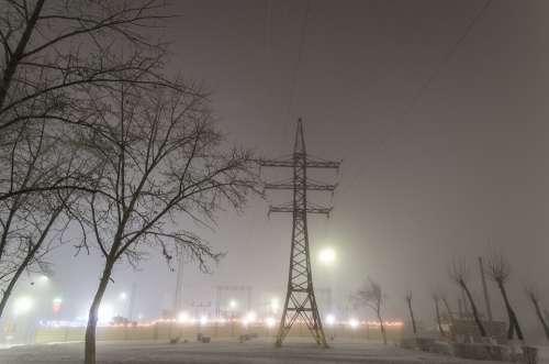 Lep Electricity Mist Power Night Sky Winter City