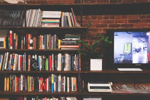 Library Books Tv Multimedia Room Modern Interior