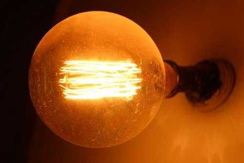 Light Bulb Circle Lamp Yellow Grey Black Socket