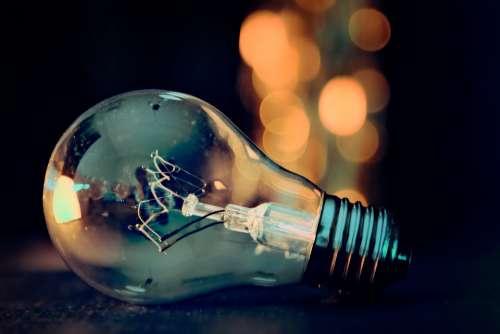 Light Bulb Lights Bokeh Energy Lamp Current Pear