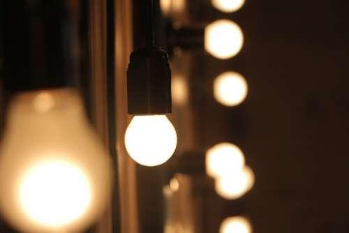 Light Bulbs Illuminated Light Blur Bokeh Bright