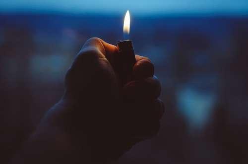 Lighter Hand Fire Holding Light Flame Heat Burn