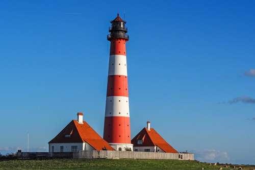 Lighthouse Westerhever Wadden Sea North Sea