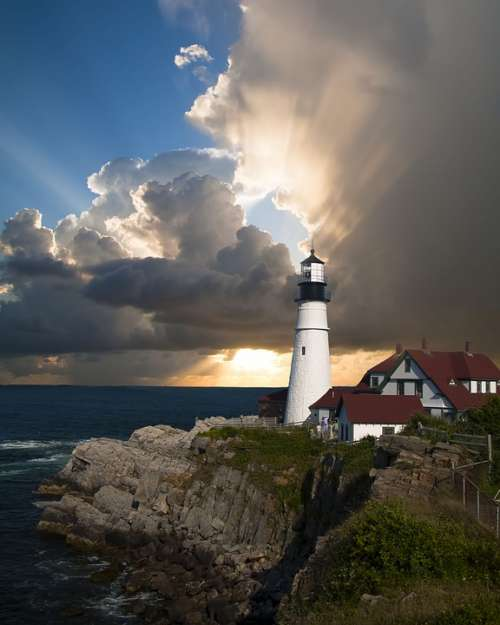 Lighthouse Beacon Direction Sunlight Clouds Sky
