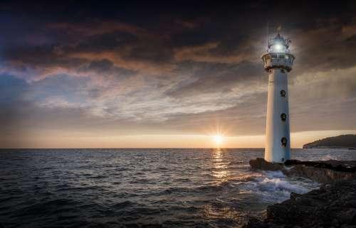 Lighthouse Glow Evening Sunset Ocean Sea Horizon
