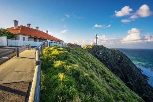 Lighthouse Seascape Coast Ocean Landscape Light