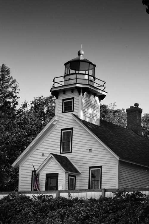 Lighthouse Black And White Sky Beacon Old Coast