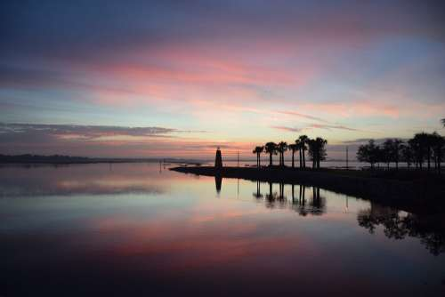 Lighthouse Sunrise Trees Palm Trees Lake Lake Toho
