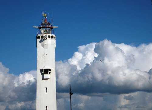 Lighthouse Air Clouds Blue White Monument Holiday