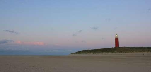 Lighthouse Evening Sky Sand Sea Nature Romantic