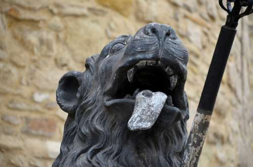 Lion Sculpture Tongue Statue Art Figure Head