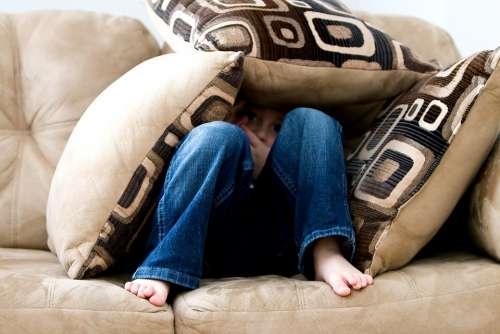 Little Boy Hiding Sad Child Fear Pillows Couch