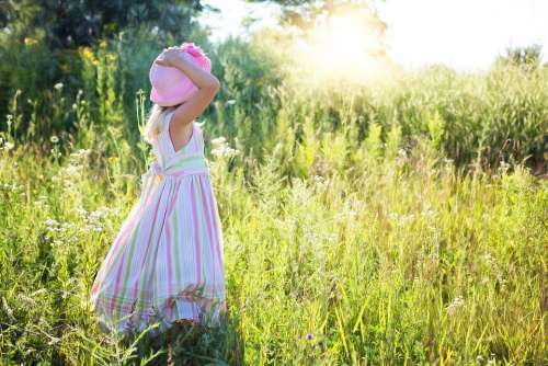 Little Girl Wildflowers Meadow Child Happiness