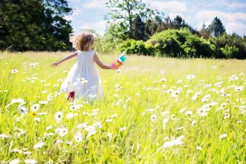 Little Girl Running Daisies Nature Grass Summer