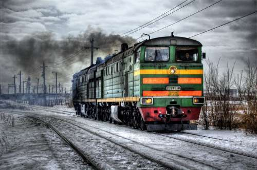 Locomotive Diesel Russia Train Traffic Smoke