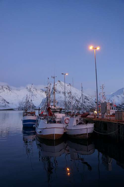 Lofoten Norway Port Boat Fishing Winter Travel