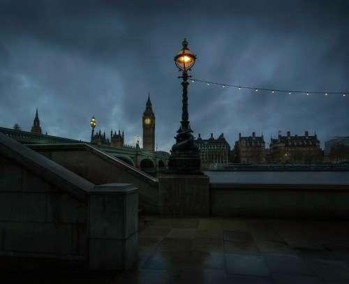 London Lantern Big Ben River Bridge City Urban
