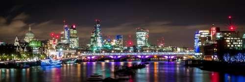 London Night Lights Thames River Panorama