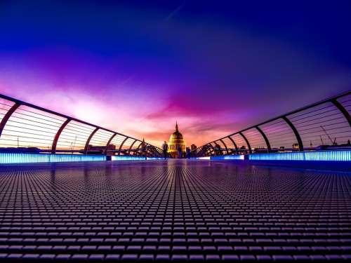 London England Great Britain Sunset Bridge