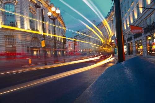 London Street Traffic Night Regent Street Bus