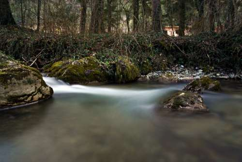 Long Exposure Water River Bach Waterfall Landscape