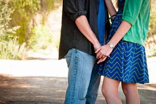 Love Couple Holding Hands Engagement Romance