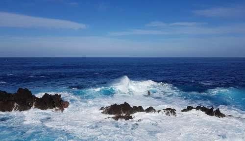 Madeira Atlantic Water Wave Rau Blue Ocean Rock
