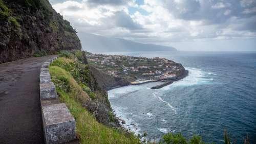 Madeira Portugal Island Ocean Coast Cliffs Road