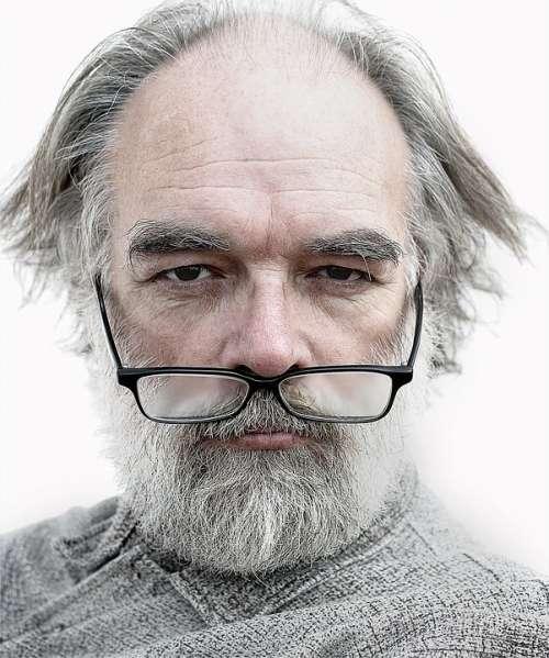 Man Portrait Old Glasses Artist Wrinkles Elderly