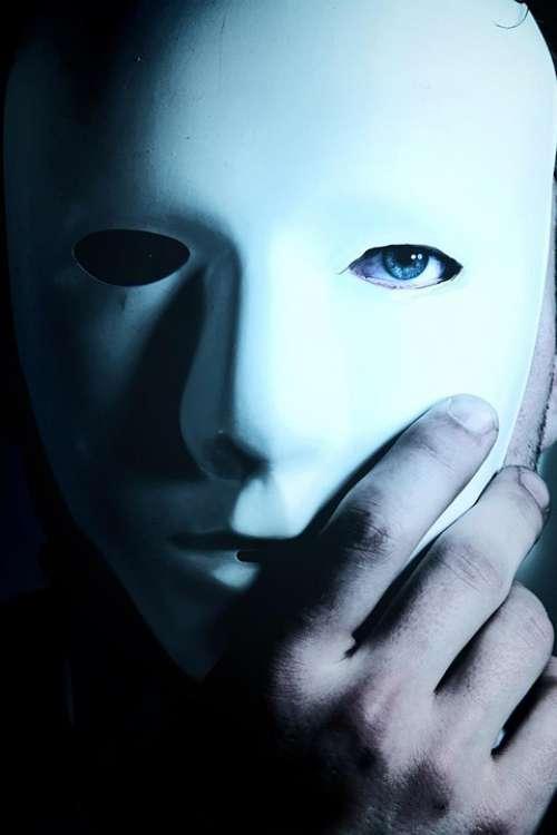 Man Mask Blue Eyes Hand Mystery Anonymous Hidden