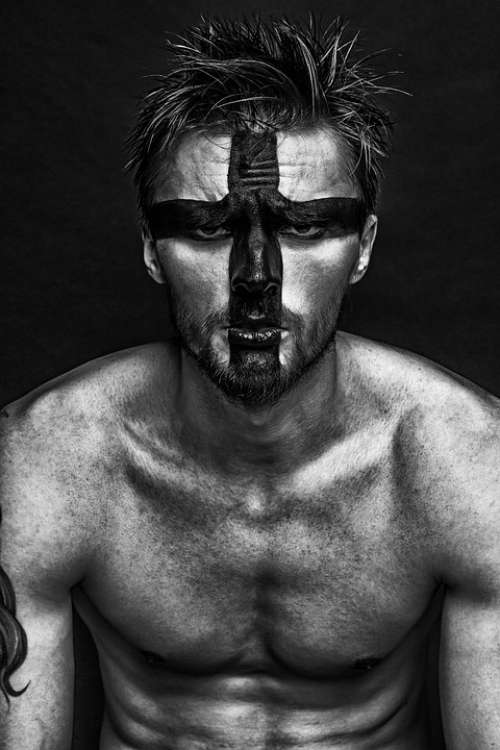 Man Guy Fashion Makeup Model Russian Creativity